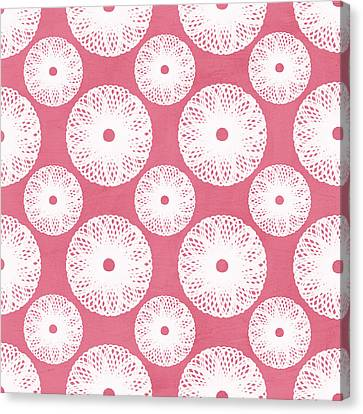 Boho Floral Pattern In Pink And White Canvas Print by Linda Woods