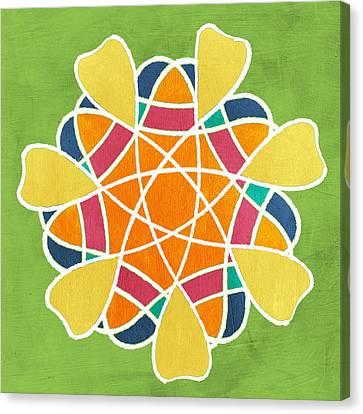 Boho Mandala On Green Canvas Print by Linda Woods