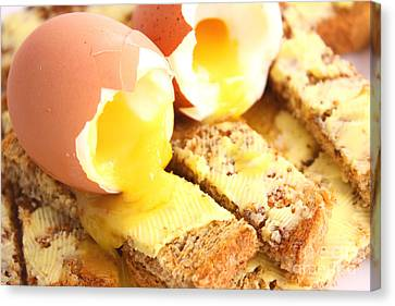 Boiled Eggs On Buttered Toast  Canvas Print by Simon Bratt Photography LRPS