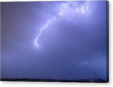 Bolts Of Lightning Arcing Through The Night Sky Canvas Print by James BO  Insogna
