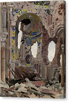 Bombed Out Interior Of Albert Church Canvas Print by Ernest Proctor