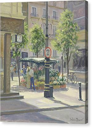 Bond Street Flowerstall Oil On Canvas Canvas Print by Julian Barrow