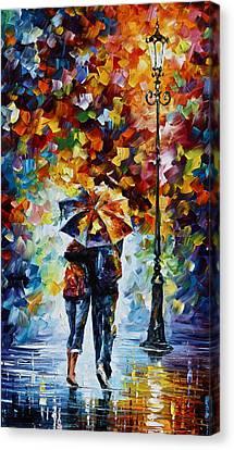 Bonded By Rain 2 Canvas Print by Leonid Afremov