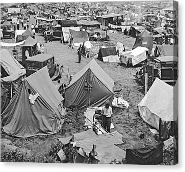 Bonus Expeditionary Force Camp Canvas Print by Underwood Archives