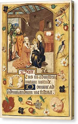 Book Of Hours. 15th C. Epiphany Scene Canvas Print by Everett