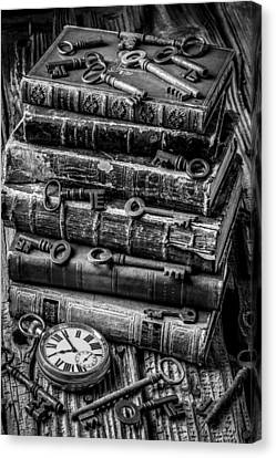 Books And Keys Black And White Canvas Print by Garry Gay