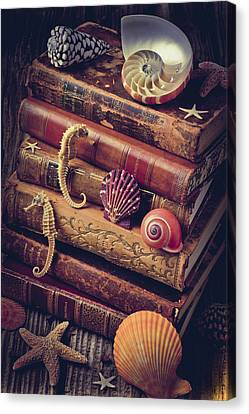 Books And Sea Shells Canvas Print by Garry Gay