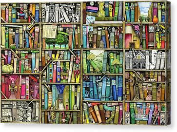 Bookshelf Canvas Print by Colin Thompson