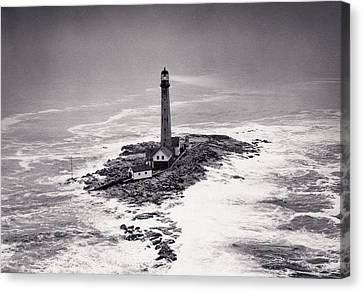 Boon Island Light Tower Circa 1950 Canvas Print by Aged Pixel