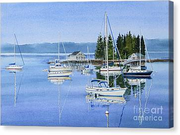 Boothbay Harbor Reflections Canvas Print by Karol Wyckoff