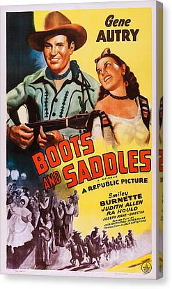 Boots And Saddles, Us Poster, Top Canvas Print by Everett