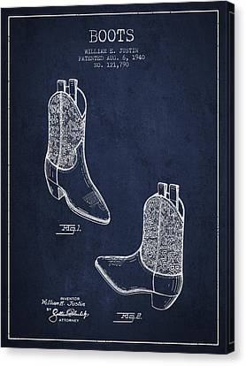 Boots Patent From 1940 - Navy Blue Canvas Print by Aged Pixel