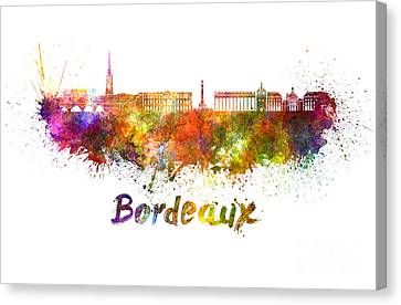 Bordeaux Skyline In Watercolor Canvas Print by Pablo Romero
