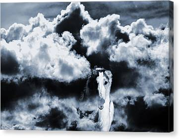 Borzoi Wolf Hound Emerging Through Mist And Clouds Canvas Print by Christian Lagereek