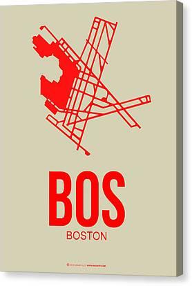 Bos Boston Airport Poster 1 Canvas Print by Naxart Studio