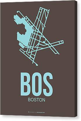 Bos Boston Airport Poster 2 Canvas Print by Naxart Studio