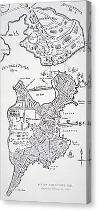 Boston And Bunker Hill 1781 Canvas Print by American School
