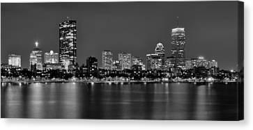 Boston Back Bay Skyline At Night Black And White Bw Panorama Canvas Print by Jon Holiday