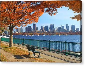 Boston Charles River In Autumn Canvas Print by John Burk