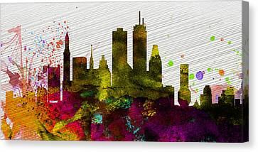 Boston City Skyline Canvas Print by Naxart Studio