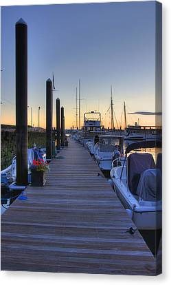 Boston Dock Sunrise Canvas Print by Joann Vitali