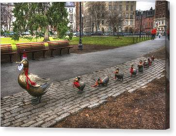 Boston Ducklings Christmas Stroll Canvas Print by Joann Vitali