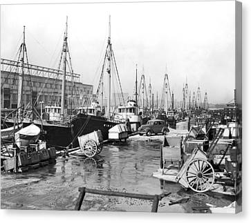 Boston Fishermen On Strike Canvas Print by Underwood Archives