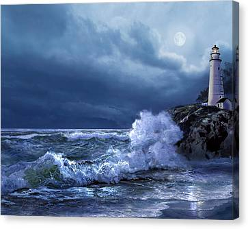 Boston Harbor Lighthouse Moonlight Scene Canvas Print by Regina Femrite