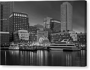 Boston Harbor Skyline And Financial District Bw Canvas Print by Susan Candelario