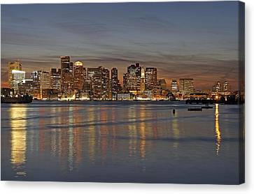 Boston Harbor Skyline Reflection Canvas Print by Juergen Roth
