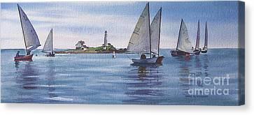 Boston Harbor Spring Sail Canvas Print by Karol Wyckoff