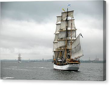 Boston Harbor Tall Ships Canvas Print by Peter Chilelli