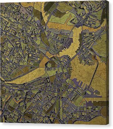 Boston Map Antique 2 Canvas Print by Bekim Art