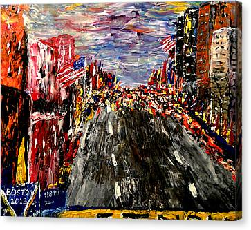 Boston Marathon  Canvas Print by Mark Moore