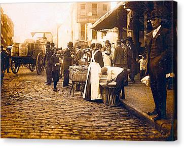 Boston Market Street Scene 1909 Canvas Print by Unknown