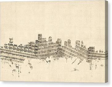 Boston Massachusetts Skyline Sheet Music Cityscape Canvas Print by Michael Tompsett