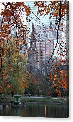 Boston Public Garden In Autumn Canvas Print by Kathy Yates
