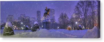 Boston Public Garden In Snow With Boston Skyline Canvas Print by Joann Vitali