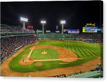 Boston Red Sox And New York Yankees At Fenway Park - Art Canvas Print by Donna Doherty