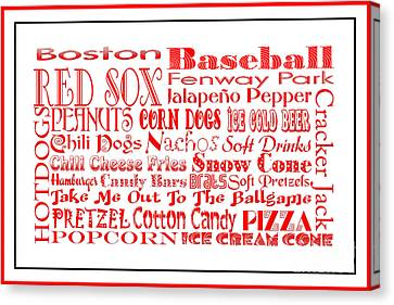 Boston Red Sox Game Day Food 3 Canvas Print by Andee Design