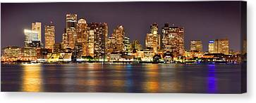 Boston Skyline At Night Panorama Canvas Print by Jon Holiday
