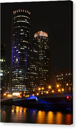 Boston Skyline At Night Canvas Print by Toby McGuire