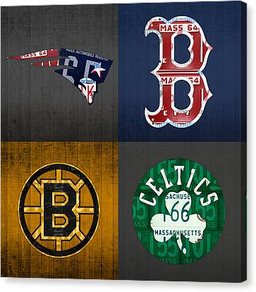 Boston Sports Fan Recycled Vintage Massachusetts License Plate Art Patriots Red Sox Bruins Celtics Canvas Print by Design Turnpike