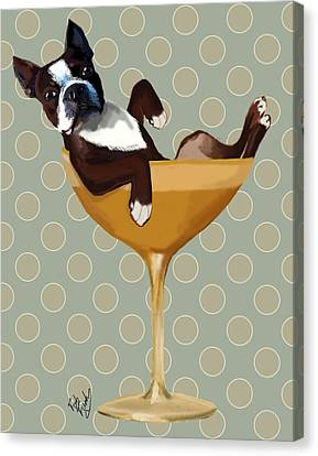 Boston Terrier Cocktail Glass Canvas Print by Kelly McLaughlan