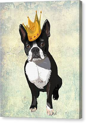 Boston Terrier With A Crown Canvas Print by Kelly McLaughlan