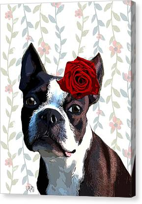 Boston Terrier With A Rose On Head Canvas Print by Kelly McLaughlan