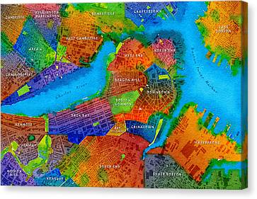 Boston Watercolor Map Canvas Print by Paul Hein