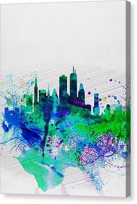 Boston Watercolor Skyline Canvas Print by Naxart Studio