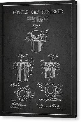 Bottle Cap Fastener Patent Drawing From 1907 - Dark Canvas Print by Aged Pixel