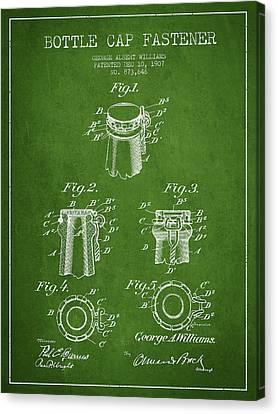 Bottle Cap Fastener Patent Drawing From 1907 - Green Canvas Print by Aged Pixel